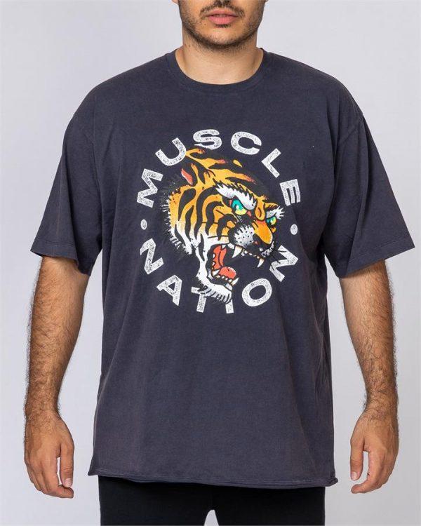 Mens Oversized Vintage Tee - Tiger - S