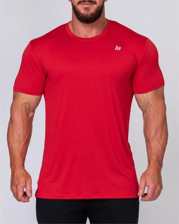 Mens Running Tee - Deep Red - L