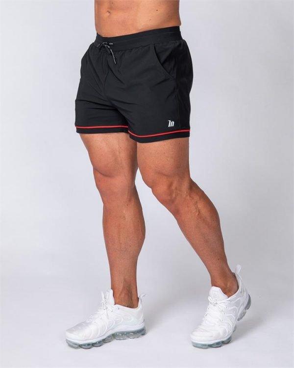 Mens Squat Shorts - Black/ Red - L