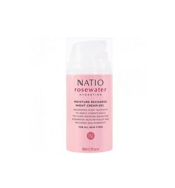 Natio Rosewater Moisture Recharge Night Cream-Gel 80ml
