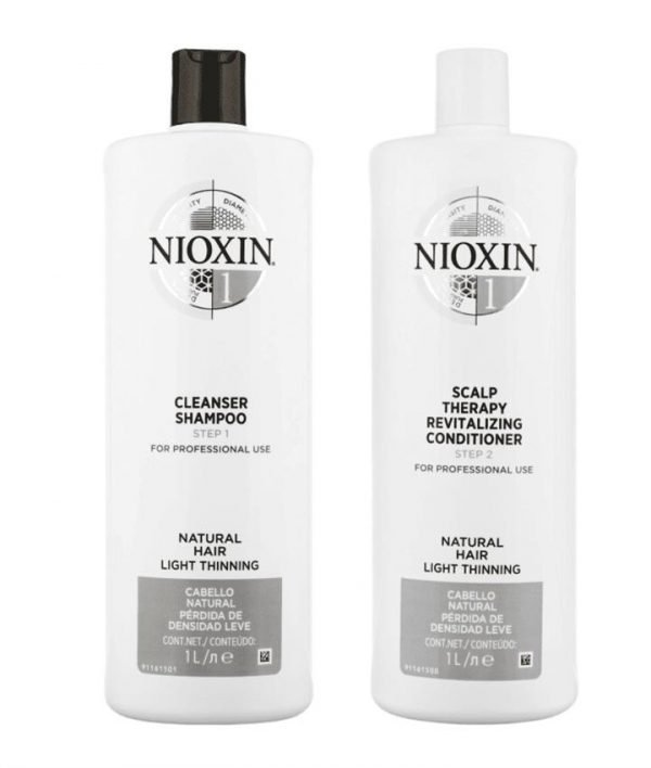 Nioxin System 1 Cleanser Shampoo and Scalp Therapy Revitalising Conditioner 1000ml Duo Pack