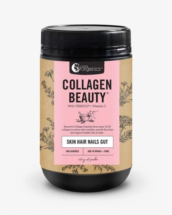 Nutra Organics Collagen Beauty with Verisol + Vitamin C (Skin Hair Nails Gut) Unflavoured 450g
