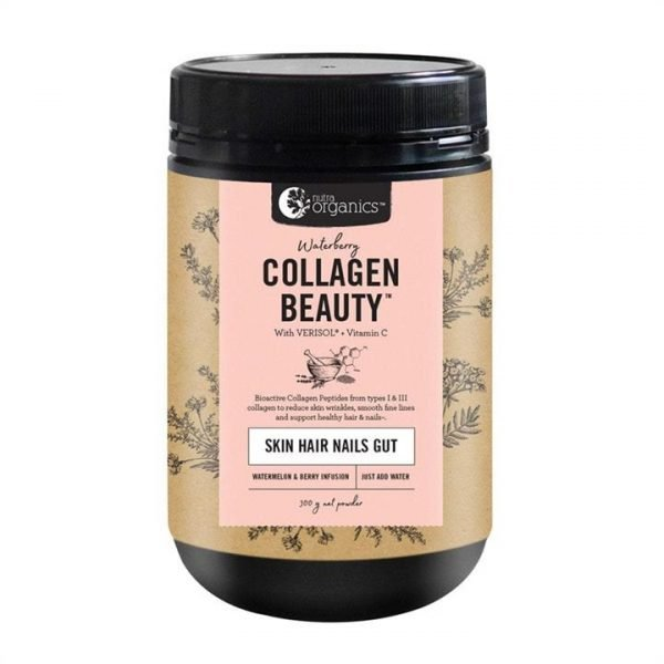 Nutra Organics Collagen Beauty with Verisol + Vitamin C (Skin Hair Nails Gut) Waterberry 300g