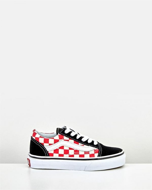Old Skool Lace Check Yth B Black/Red