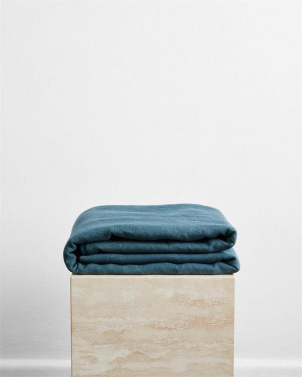 Petrol 100% French Flax Linen Throw - Bed Threads