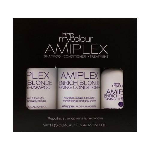 RPR Amiplex Enrich Blonde Toning Shampoo Conditioner Treatment Kit