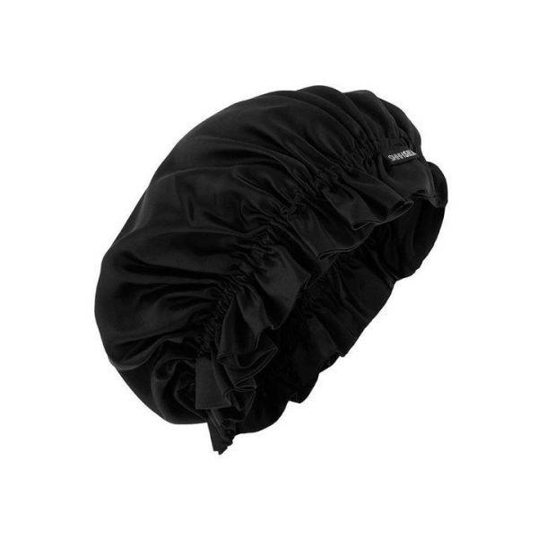 Shhh Silk Black Silk Sleep Bonnet