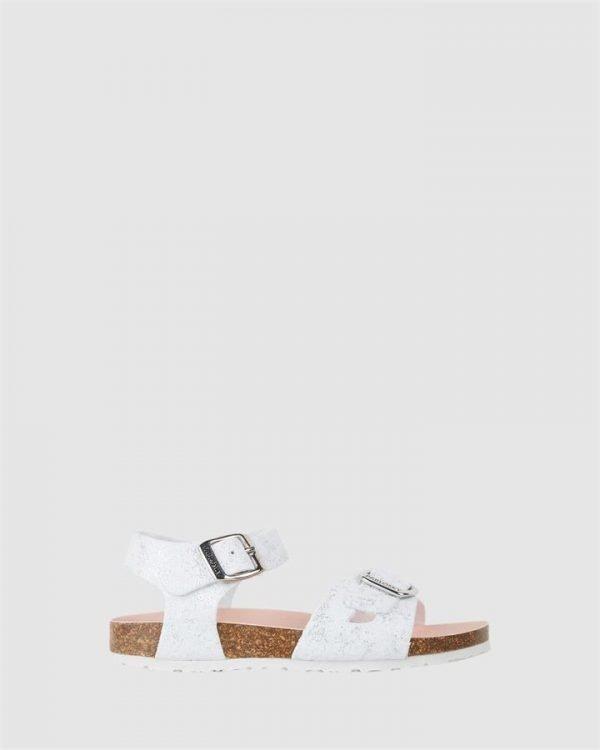 Shimmer Cork Sandal G 4834 Yth White