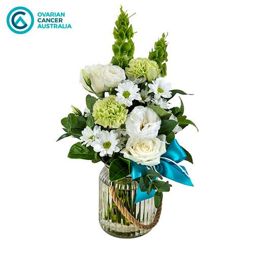 Strength - White and Green Posy in a Glass Jar