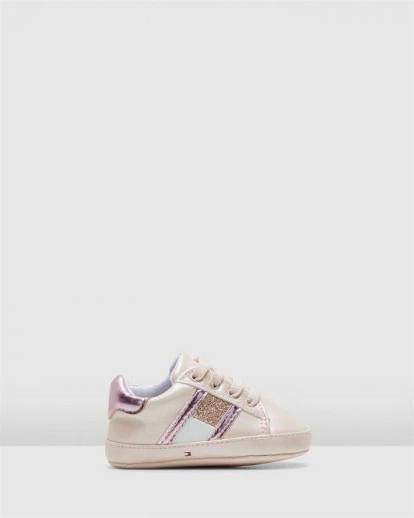 Th El Glitter Flag Crib Pink/White