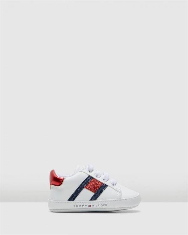 Th El Glitter Flag Crib White/Navy/Red