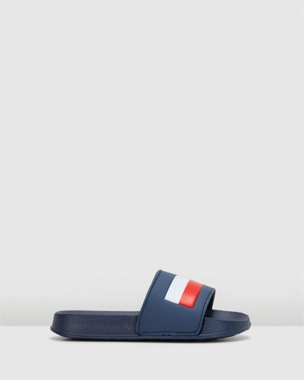 Th Flag Logo Pool Slide Yth Navy