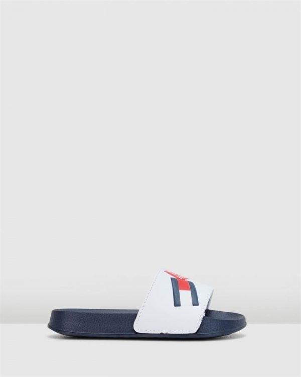 Th Logo Badge Pool Slide Yth Navy/White