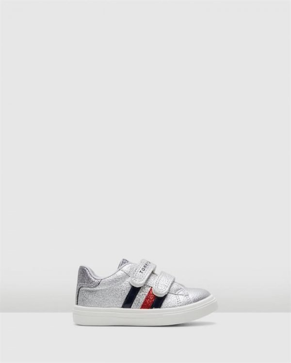 Th Sf Glitter Stripe Sneaker Silver Glitter
