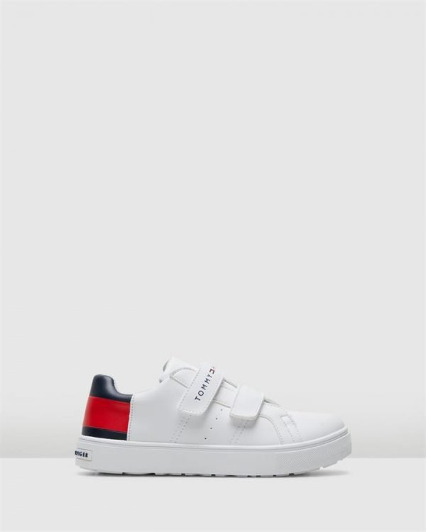 Th Tommy Flag Sneaker Snr White/Navy/Red