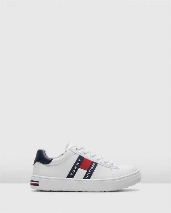 Th Tommy Flag Sneaker Yth White/Navy/Red