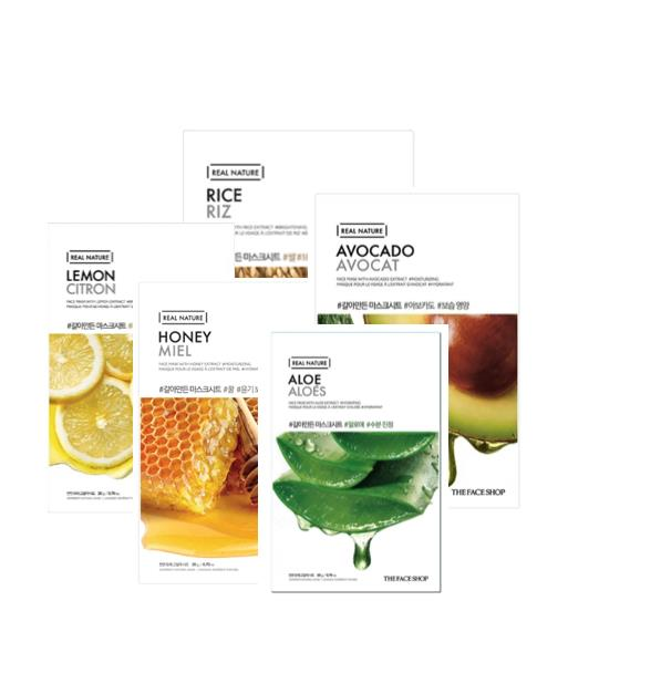 The Face Shop Brightening + Moisturising Face Mask Pack x 5