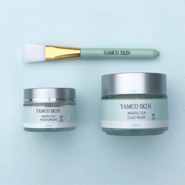 Yamco Skin Clay Mask & Moisturiser Duo with Brush