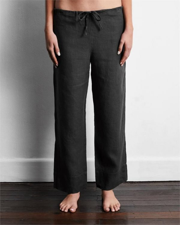 100% French Flax Linen Pants in Charcoal - Bed Threads