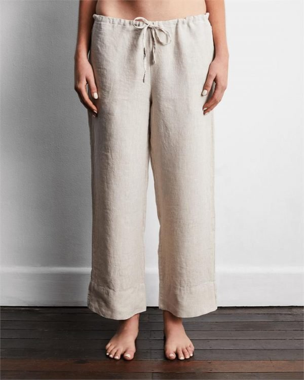 100% French Flax Linen Pants in Oatmeal - Bed Threads