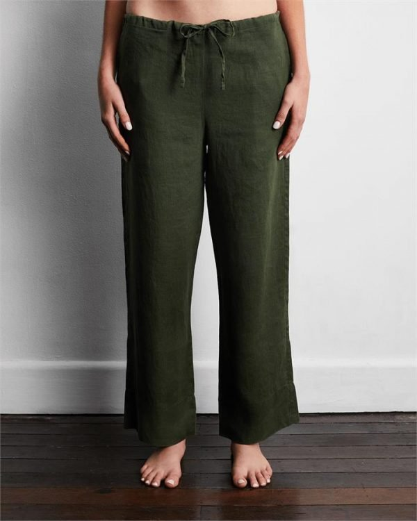 100% French Flax Linen Pants in Olive - Bed Threads
