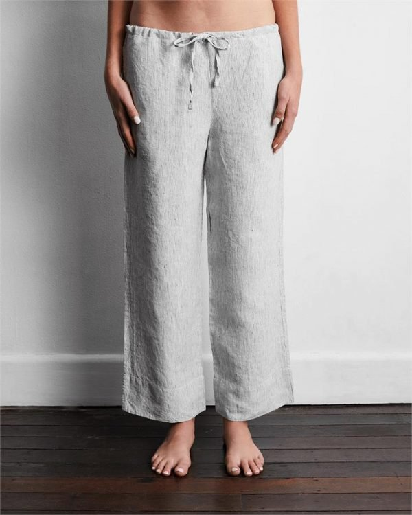 100% French Flax Linen Pants in Pinstripe - Bed Threads