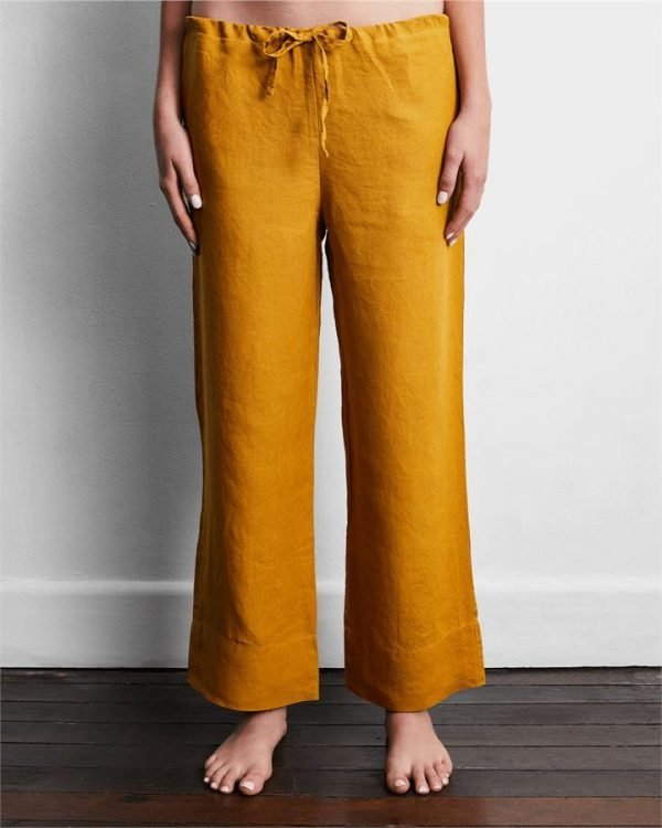100% French Flax Linen Pants in Turmeric - Bed Threads
