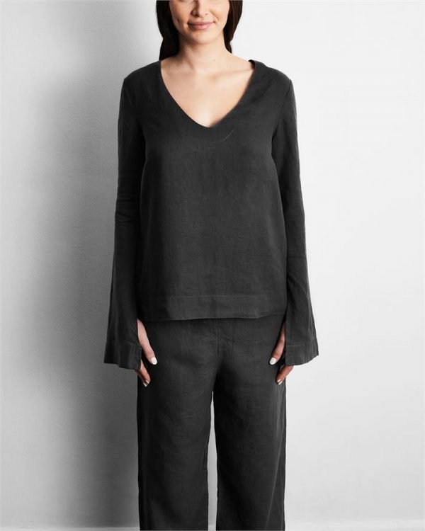 100% French Flax Linen Top in Charcoal - Bed Threads