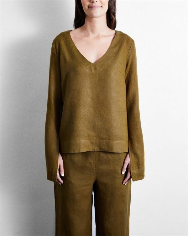 100% French Flax Linen Top in Khaki - Bed Threads