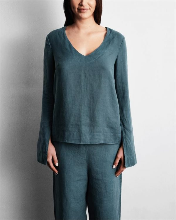 100% French Flax Linen Top in Petrol - Bed Threads