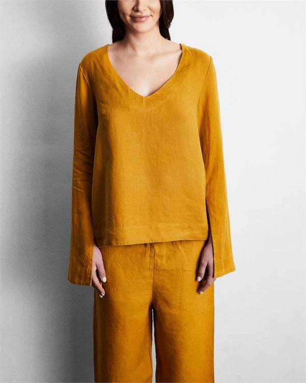 100% French Flax Linen Top in Turmeric - Bed Threads