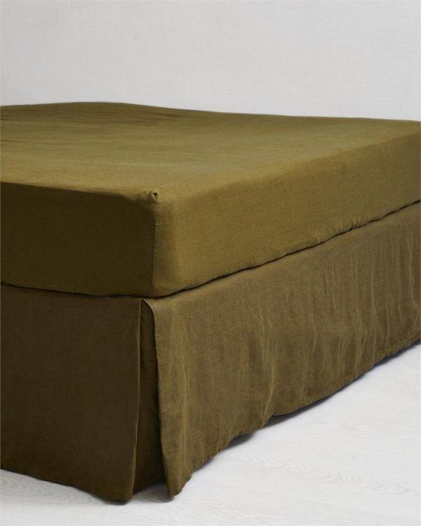 Khaki 100% Flax Linen Valance - Bed Threads