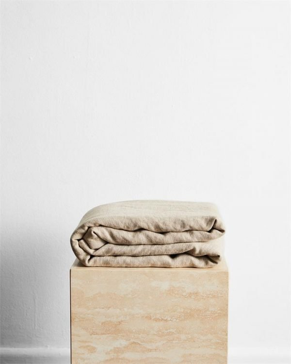 Oatmeal 100% French Flax Linen Throw - Bed Threads