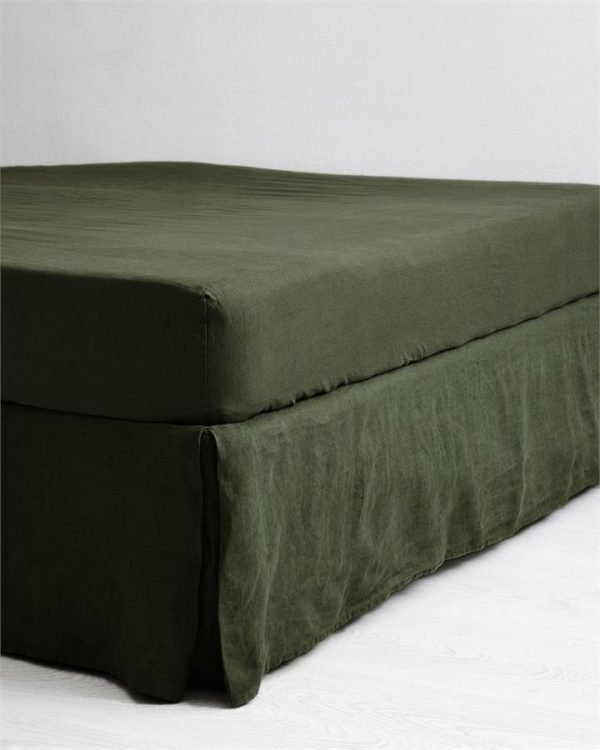 Olive 100% Flax Linen Valance - Bed Threads