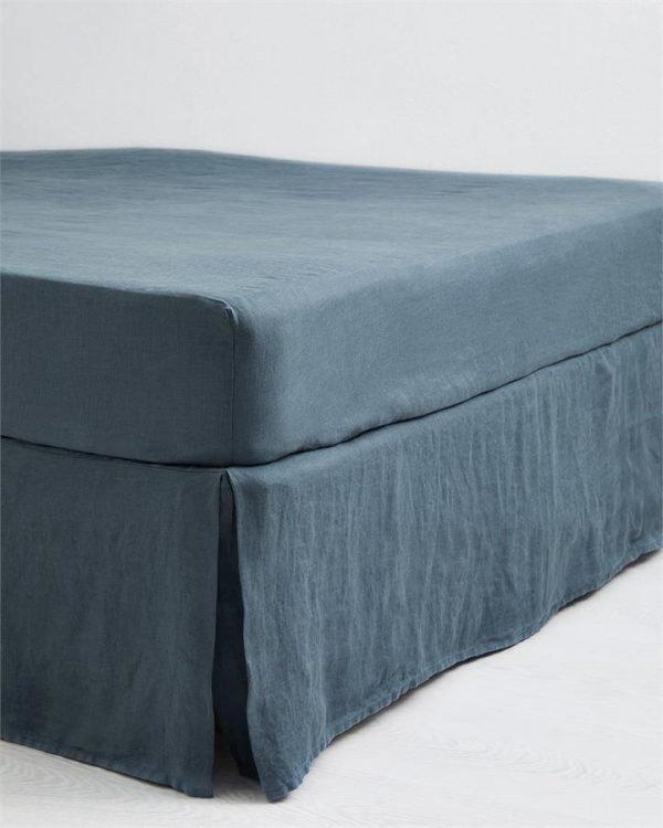 Petrol 100% Flax Linen Valance - Bed Threads
