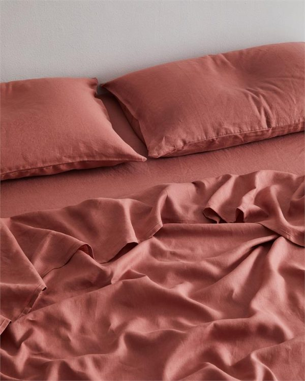 Pink Clay 100% Flax Linen Fitted Sheet - Bed Threads