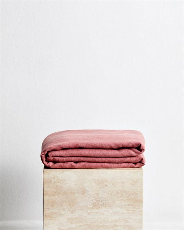 Pink Clay 100% French Flax Linen Throw - Bed Threads