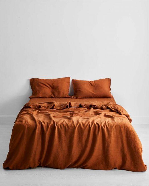 Rust 100% Flax Linen Bedding Set - Bed Threads