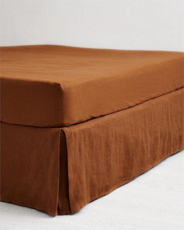 Rust 100% Flax Linen Valance - Bed Threads