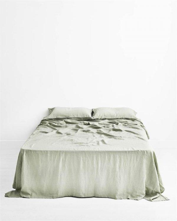 Sage 100% Flax Linen Flat Sheet - Bed Threads
