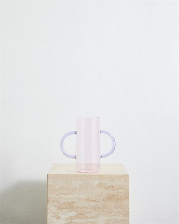 Sophie Lou Jacobsen Double Handle Vase in Pink & Purple - Bed Threads