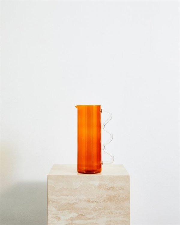 Sophie Lou Jacobsen Wave Pitcher in Amber & Clear - Bed Threads