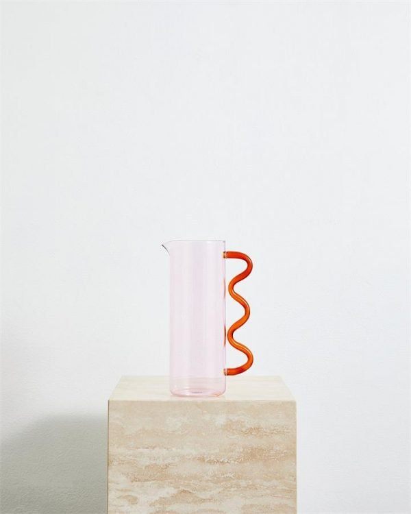 Sophie Lou Jacobsen Wave Pitcher in Pink & Amber - Bed Threads