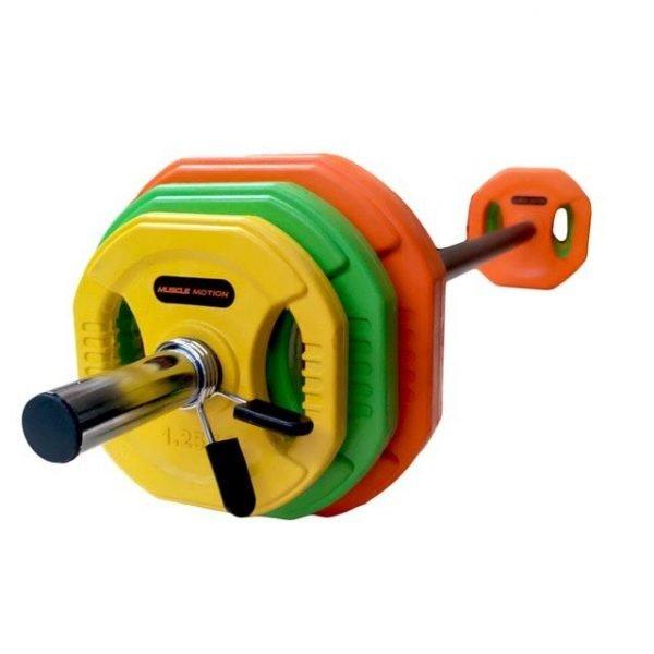 20kg Standard Coloured Rubber Barbell Pump Set