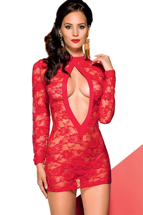Avanua Valentine Red Lace Chemise with Thong