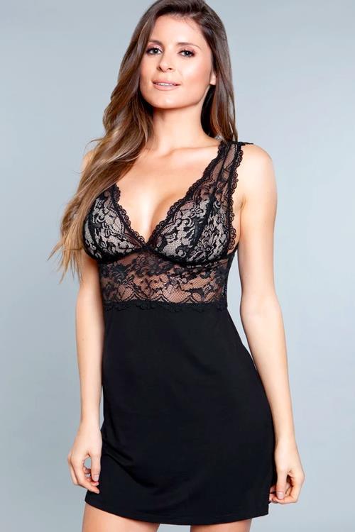Be Wicked Orian Black Lace & Jersey Babydoll