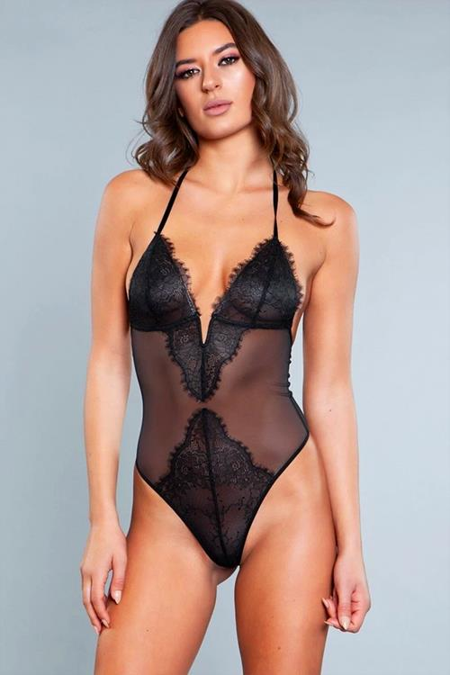 Be Wicked Scarlett Black Lace & Mesh Teddy