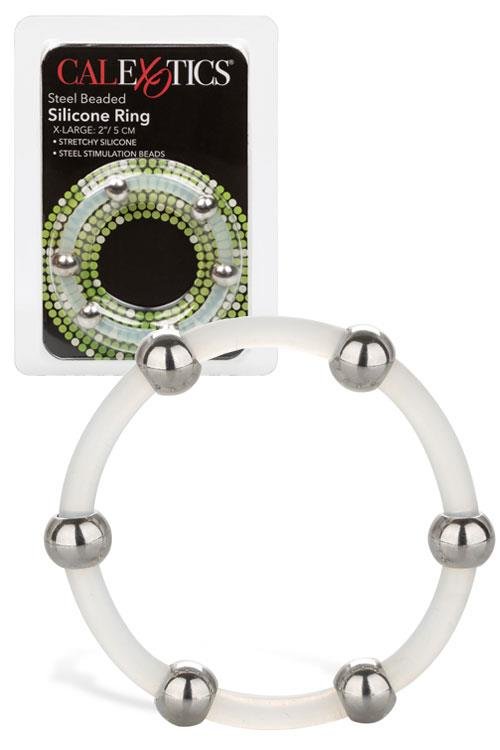 """California Exotic Steel Beaded Silicone 2"""" Cock Ring"""