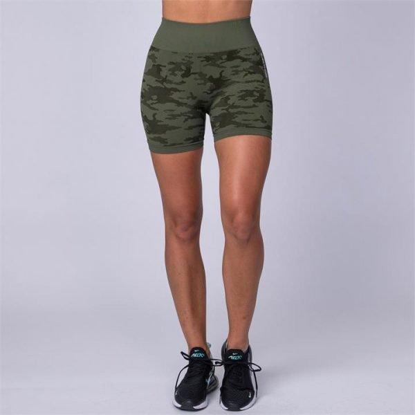 Camo Seamless High Waist Shorts - Green Camo - M