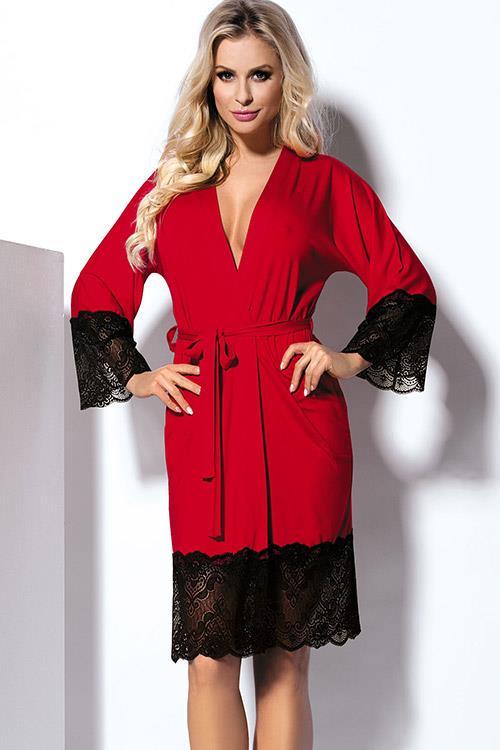 DKaren Jasmin Jersey-knit with Lace Robe